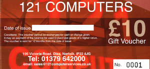Get your Gift vouchers from 121 Computers